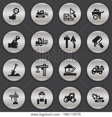 Set Of 16 Editable Construction Icons. Includes Symbols Such As Excavation Machine, Mule, Scrub And More. Can Be Used For Web, Mobile, UI And Infographic Design.