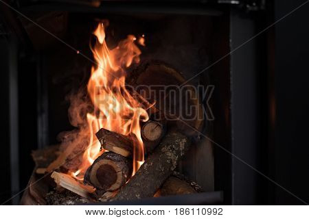 Beautiful flame fireplace. Wood burning bright flames in a modern fireplace with glass door