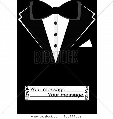 Black suit with bow tie on postcard. Postcard tuxedo. Also suitable for invitation card, business card. Vector illustration.