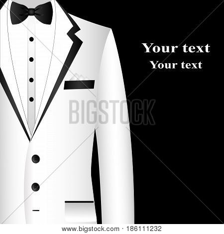 White suit with bow tie on postcard. Postcard tuxedo. Also suitable for invitation card business card. Vector illustration.