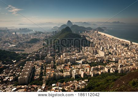 Aerial View of Copacabana District, the Sugarloaf Mountain in the Horizon, Rio de Janeiro, Brazil