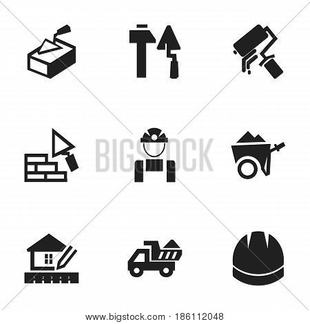 Set Of 9 Editable Construction Icons. Includes Symbols Such As Facing, Scrub, Handcart. Can Be Used For Web, Mobile, UI And Infographic Design.
