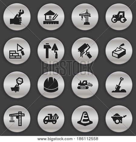 Set Of 16 Editable Building Icons. Includes Symbols Such As Camion, Home Scheduling, Notice Object And More. Can Be Used For Web, Mobile, UI And Infographic Design.