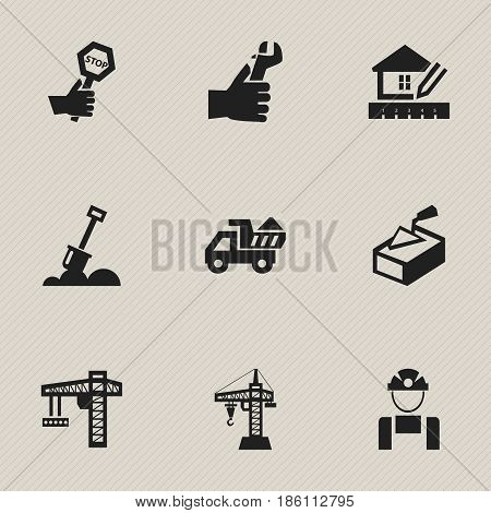 Set Of 9 Editable Building Icons. Includes Symbols Such As Oar, Home Scheduling, Elevator And More. Can Be Used For Web, Mobile, UI And Infographic Design.