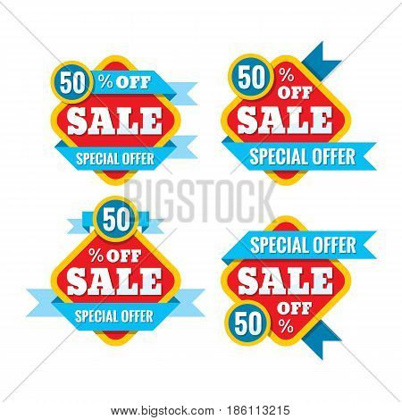 Sale 50% off - vector concept illustration in flat style. Abstract advertising promotion banners on white background. Creative discount badges set. Special offer stickers. Design elements.