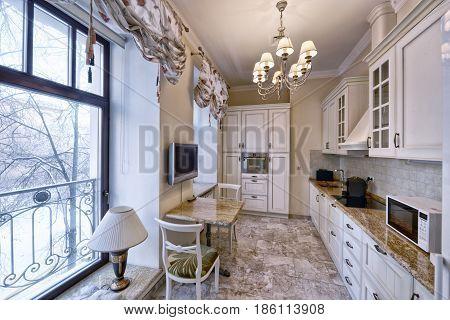 Interior design modern kitchen in the new house