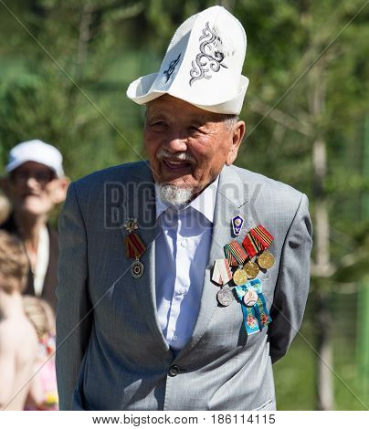 Shymkent, KAZAKHSTAN - May 9, 2017: Veterans of the war. The feast of the victory of the Red Army and Soviet people in the Great Patriotic War of 1941-1945.