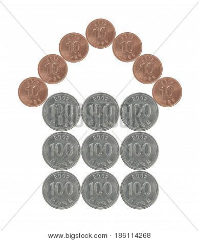 House made from Korean coins isolated on white background