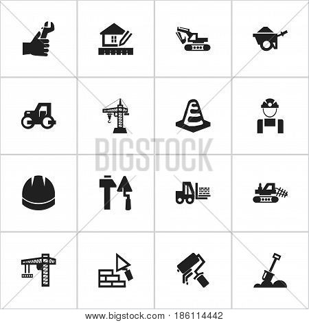 Set Of 16 Editable Structure Icons. Includes Symbols Such As Hands , Scrub, Mule. Can Be Used For Web, Mobile, UI And Infographic Design.