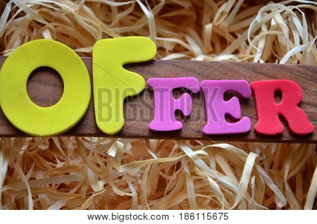 word offer on a  abstract colorful background