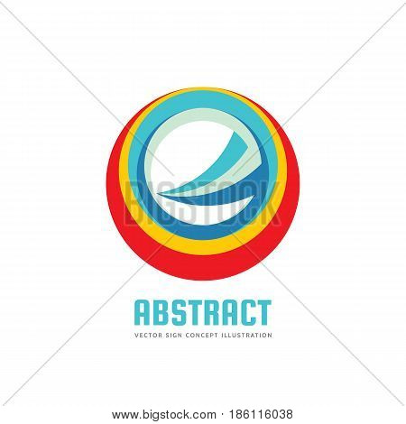 Abstract circle - vector logo template concept illustration. Colored ring and sharp shape sign. Development business creative symbol. Design element.