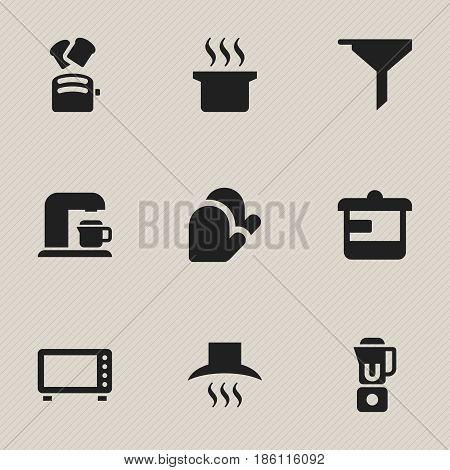 Set Of 9 Editable Cook Icons. Includes Symbols Such As Drink Maker, Kitchen Glove, Soup Pot And More. Can Be Used For Web, Mobile, UI And Infographic Design.