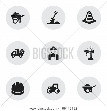 Set Of 9 Editable Structure Icons. Includes Symbols Such As Camion , Handcart , Elevator. Can Be Used For Web, Mobile, UI And Infographic Design.