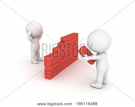 3D Character building a wall to isolate himself from others. Image depicting the concept of being a recluse