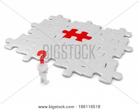 3D character searching for red puzzle piece. Image can depict the concept of searching for something mysterious.