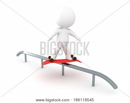 3D Character doing a darkside grind on a rail with a skateboard. Image depicting extreme sports.