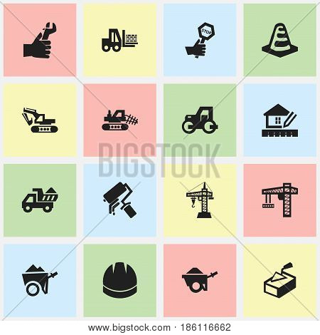 Set Of 16 Editable Construction Icons. Includes Symbols Such As Endurance, Elevator, Trolley And More. Can Be Used For Web, Mobile, UI And Infographic Design.