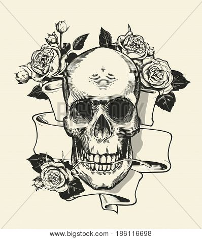 Human skull with rose grasped with jaws and ribbon on background. Symbol of death and evil. Monochrome vector illustration in retro etching or woodcut style for label, banner, tattoo, T-shirt print