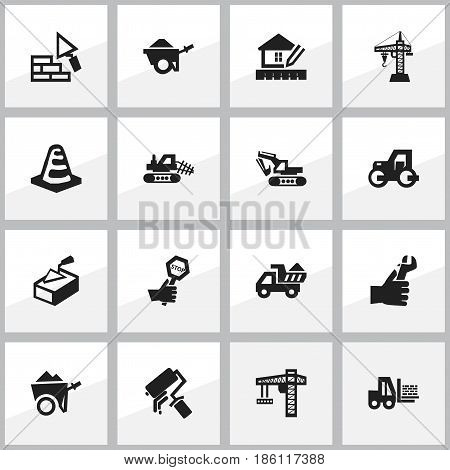Set Of 16 Editable Building Icons. Includes Symbols Such As Endurance, Lifting Equipment, Caterpillar And More. Can Be Used For Web, Mobile, UI And Infographic Design.