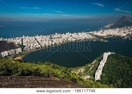 Beautiful Aerial View of Rodrigo de Freitas Lagoon, and Ipanema, in Rio de Janeiro, Brazil