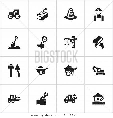 Set Of 16 Editable Building Icons. Includes Symbols Such As Handcart , Scrub, Truck. Can Be Used For Web, Mobile, UI And Infographic Design.