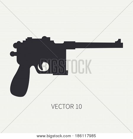 Silhouette. Line flat vector military icon handgun, pistol. Army equipment and armament. Legendary retro weapon. Cartoon. Assault. Soldier. Slug. War. Illustration and element for design and wallpaper