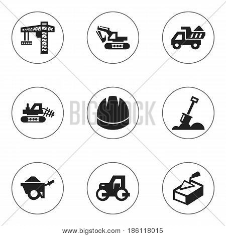 Set Of 9 Editable Construction Icons. Includes Symbols Such As Oar, Excavation Machine, Mule And More. Can Be Used For Web, Mobile, UI And Infographic Design.