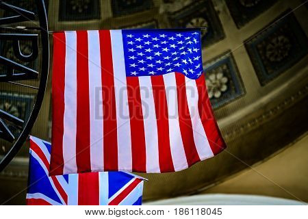 American flag with Union Jack on background