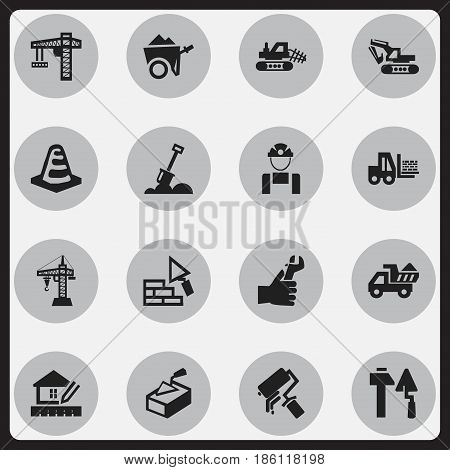 Set Of 16 Editable Building Icons. Includes Symbols Such As Lifting Equipment, Mule, Hands. Can Be Used For Web, Mobile, UI And Infographic Design.