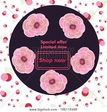 Big sale  illustration banner. Circle label flowers . Floral pattern.For web, invitation, shop