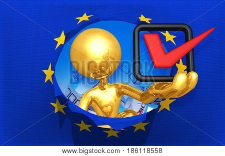 Voting To Leave The European Union With The Original 3D Character Illustration