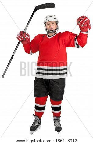 Ice Hockey Players Cheering Isolated on Tranparent Background