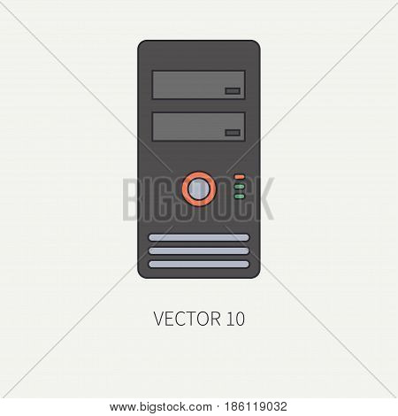 Line flat color vector computer part icon housing body. Cartoon. Digital gaming and business office pc desktop device. Innovation gadget. Hardware. Shell. Illustration and element for design wallpaper