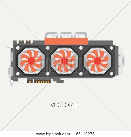 Plain flat color vector computer part icon video card. Cartoon. Digital gaming and business office pc desktop device. Innovation gadget. Data. Internet. Illustration and element for design, wallpaper.