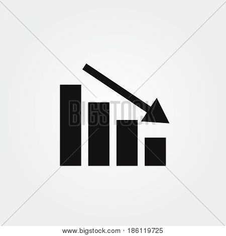 chart down vector icon isolated on white background .