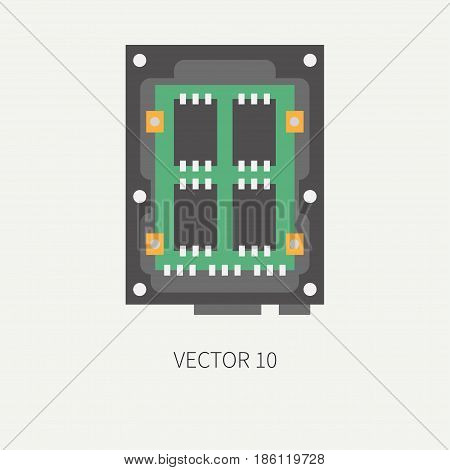 Plain flat color vector computer part icon data storage ssd. Cartoon Digital gaming and business office pc desktop device. Innovation gadget. Tech. Chip. Illustration and element for design, wallpaper
