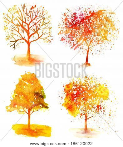 A set of vibrant watercolor autumn trees on a white background, painterly design elements for a fall banner or flyer