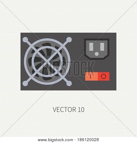 Plain flat color vector computer part icon power supply. Cartoon. Digital gaming and business office pc desktop device. Innovation gadget. Hardware. Fan. Illustration and element for design, wallpaper