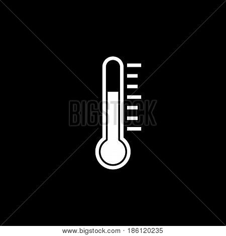 thermometer vector icon isolated on black background .