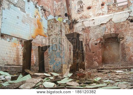 Ruins of an old factory in the city of Balashov.
