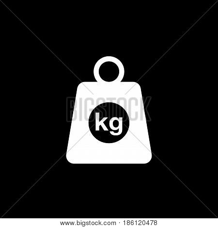 kg vector icon isolated on black background .