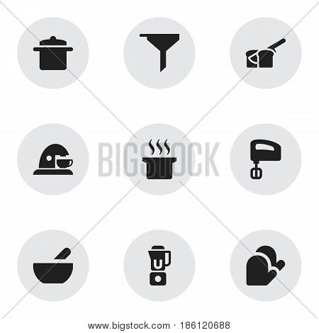 Set Of 9 Editable Cook Icons. Includes Symbols Such As Soup Pot, Bakery, Cookware And More. Can Be Used For Web, Mobile, UI And Infographic Design.