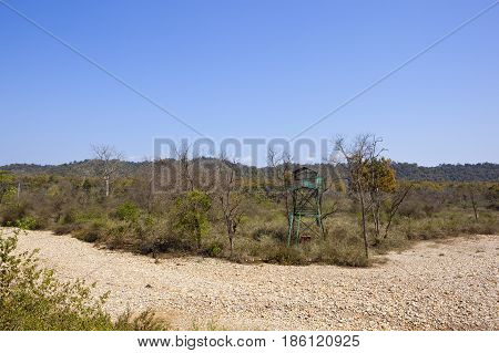 Blue Viewing Platform And Dry River Bed