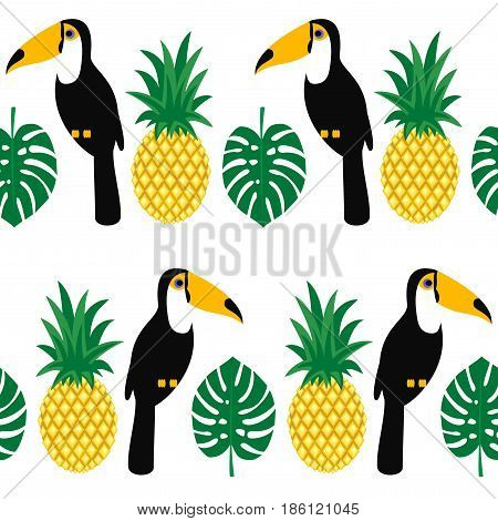 Tropical seamless pattern with toucans, palm leaves and pineapples. Trendy Jungle illustration. Fashion summer background. Cute design for fabric, textile, decor.