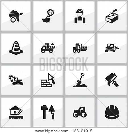 Set Of 16 Editable Building Icons. Includes Symbols Such As Endurance, Mule, Camion And More. Can Be Used For Web, Mobile, UI And Infographic Design.