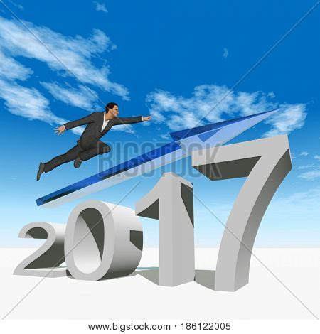Conceptual 3D illustration human, man or businessman flying  over an blue 2017 year symbol with an arrow on sky white background