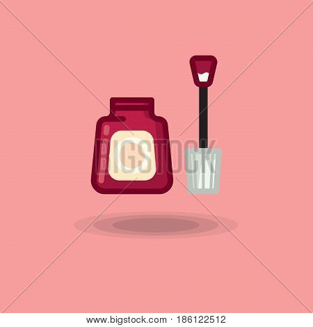 Vector icon of nail polish open bottle of red. Illustration of a tube of red nail polish and a nail brush