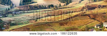 Spring Rural Panoramic Landscape Of Sunny Alpine Morning.