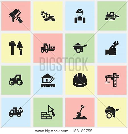 Set Of 16 Editable Building Icons. Includes Symbols Such As Lifting Equipment, Handcart , Hardhat. Can Be Used For Web, Mobile, UI And Infographic Design.
