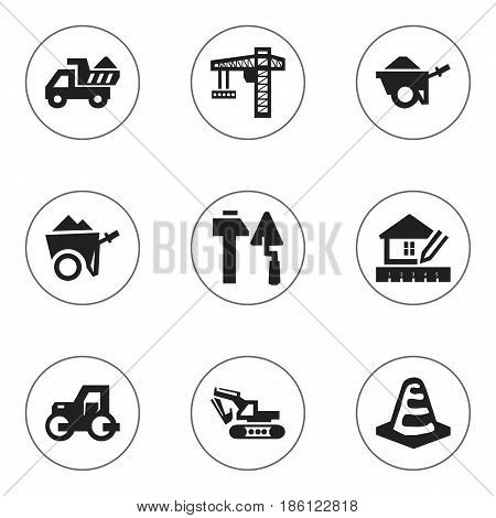 Set Of 9 Editable Structure Icons. Includes Symbols Such As Notice Object , Construction Tools, Handcart. Can Be Used For Web, Mobile, UI And Infographic Design.